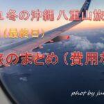 2021年1月 冬の沖縄・八重山でのんびりリゾート旅 6日目 【最終日 保護猫ちゃん再会 上空から見る桜島の噴火口 旅のまとめ(費用など】
